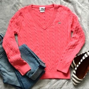 Lacoste Pink V-neck Knit Long Sleeve Sweater Top